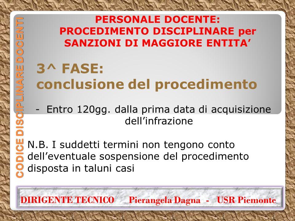 CODICE DISCIPLINARE DOCENTI PERSONALE DOCENTE: PROCEDIMENTO DISCIPLINARE per SANZIONI DI MAGGIORE ENTITA' 3^ FASE: conclusione del procedimento DIRIGE