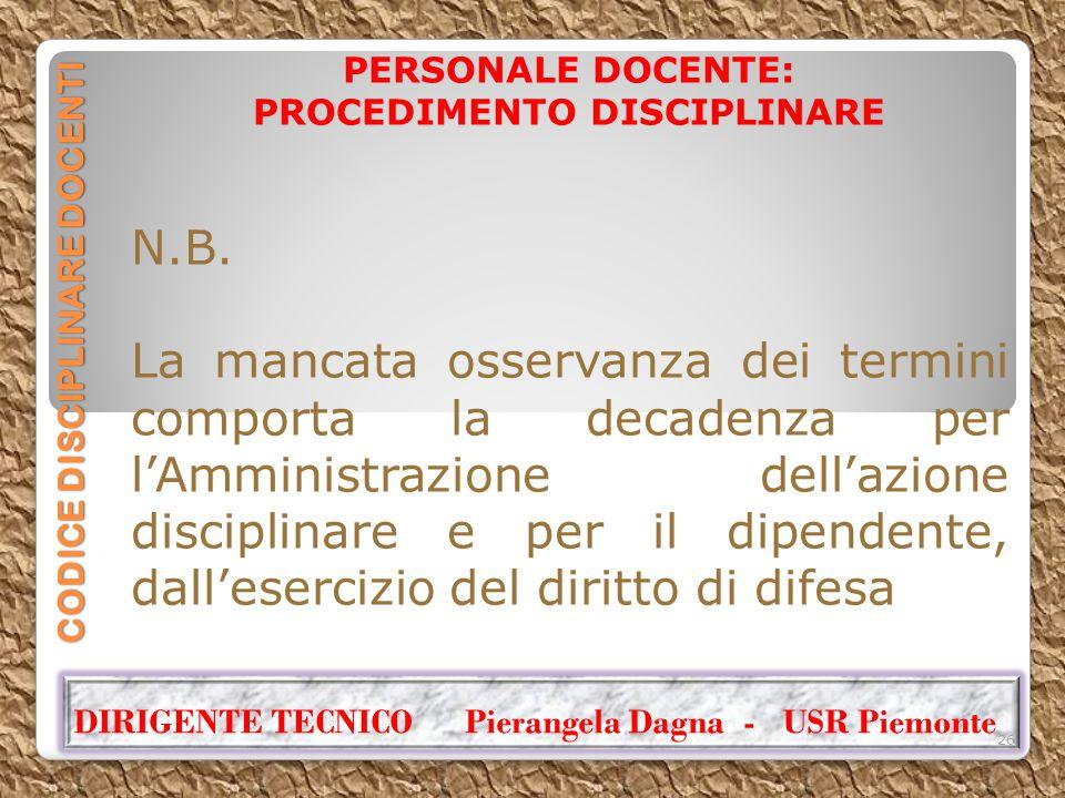 CODICE DISCIPLINARE DOCENTI PERSONALE DOCENTE: PROCEDIMENTO DISCIPLINARE N.B. La mancata osservanza dei termini comporta la decadenza per l'Amministra