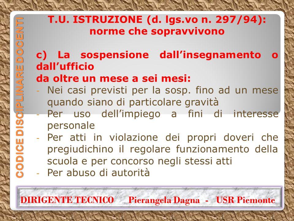 CODICE DISCIPLINARE DOCENTI T.U. ISTRUZIONE (d. lgs.vo n. 297/94): norme che sopravvivono c) La sospensione dall'insegnamento o dall'ufficio da oltre