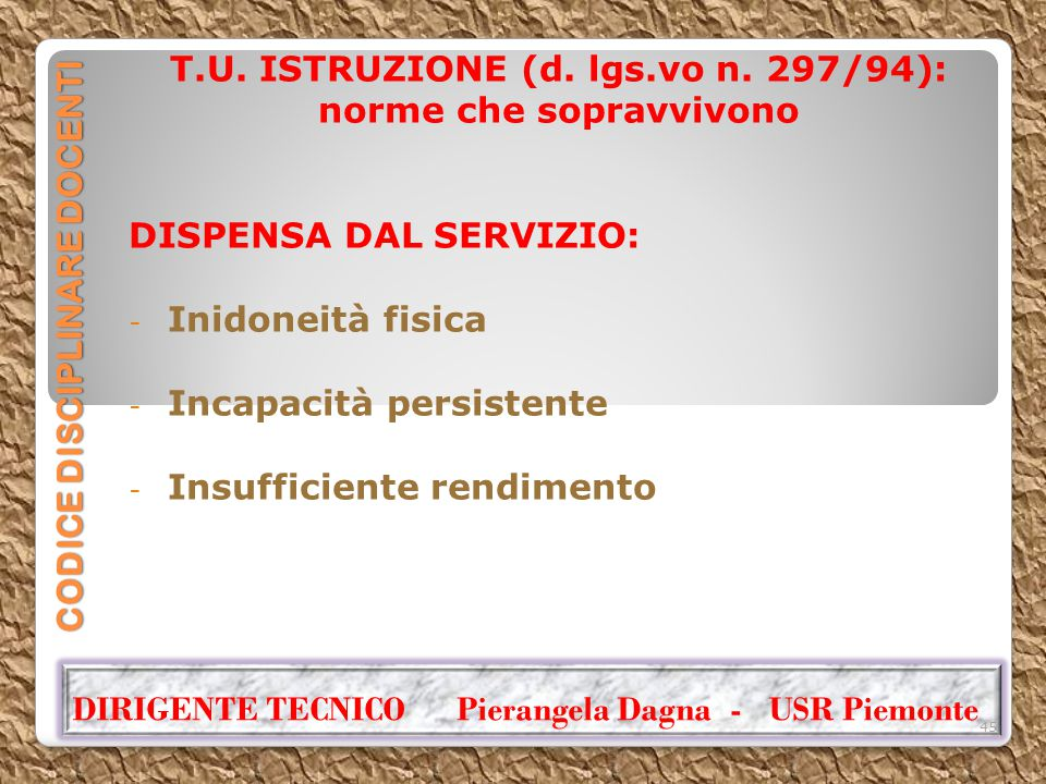 CODICE DISCIPLINARE DOCENTI T.U. ISTRUZIONE (d. lgs.vo n. 297/94): norme che sopravvivono DISPENSA DAL SERVIZIO: - Inidoneità fisica - Incapacità pers