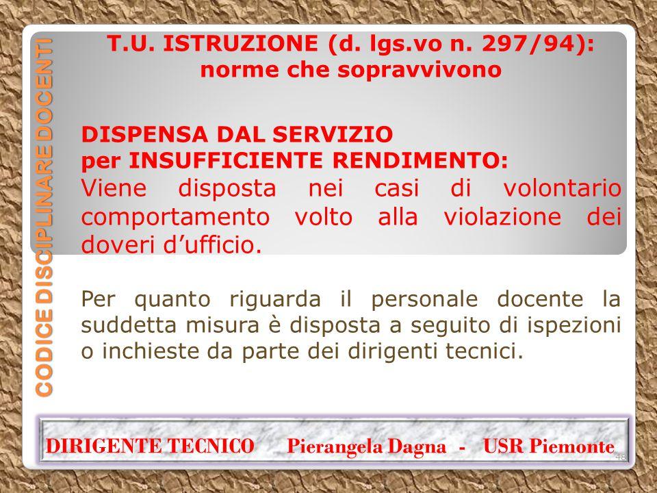 CODICE DISCIPLINARE DOCENTI T.U. ISTRUZIONE (d. lgs.vo n. 297/94): norme che sopravvivono DISPENSA DAL SERVIZIO per INSUFFICIENTE RENDIMENTO: Viene di