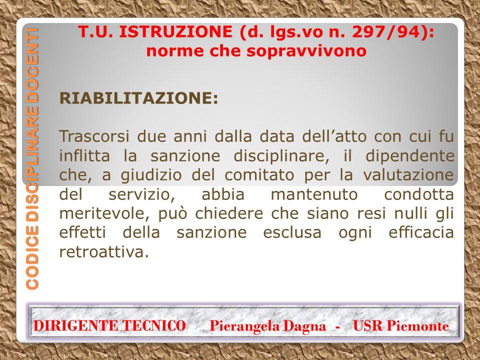 CODICE DISCIPLINARE DOCENTI T.U. ISTRUZIONE (d. lgs.vo n. 297/94): norme che sopravvivono RIABILITAZIONE: Trascorsi due anni dalla data dell'atto con