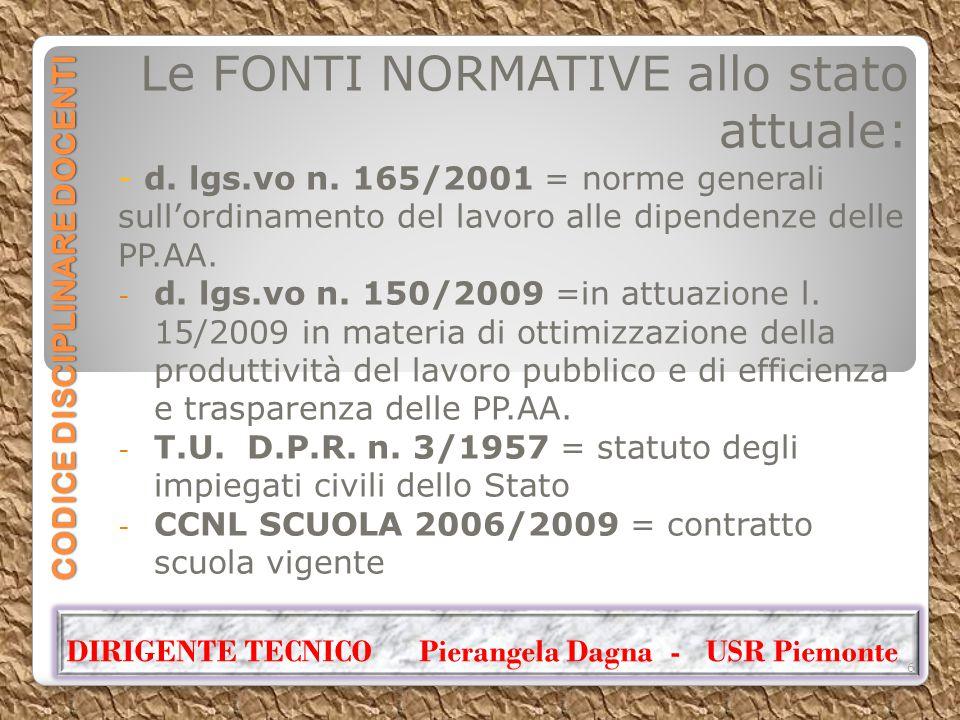 CODICE DISCIPLINARE DOCENTI Le FONTI NORMATIVE allo stato attuale: - d. lgs.vo n. 165/2001 = norme generali sull'ordinamento del lavoro alle dipendenz