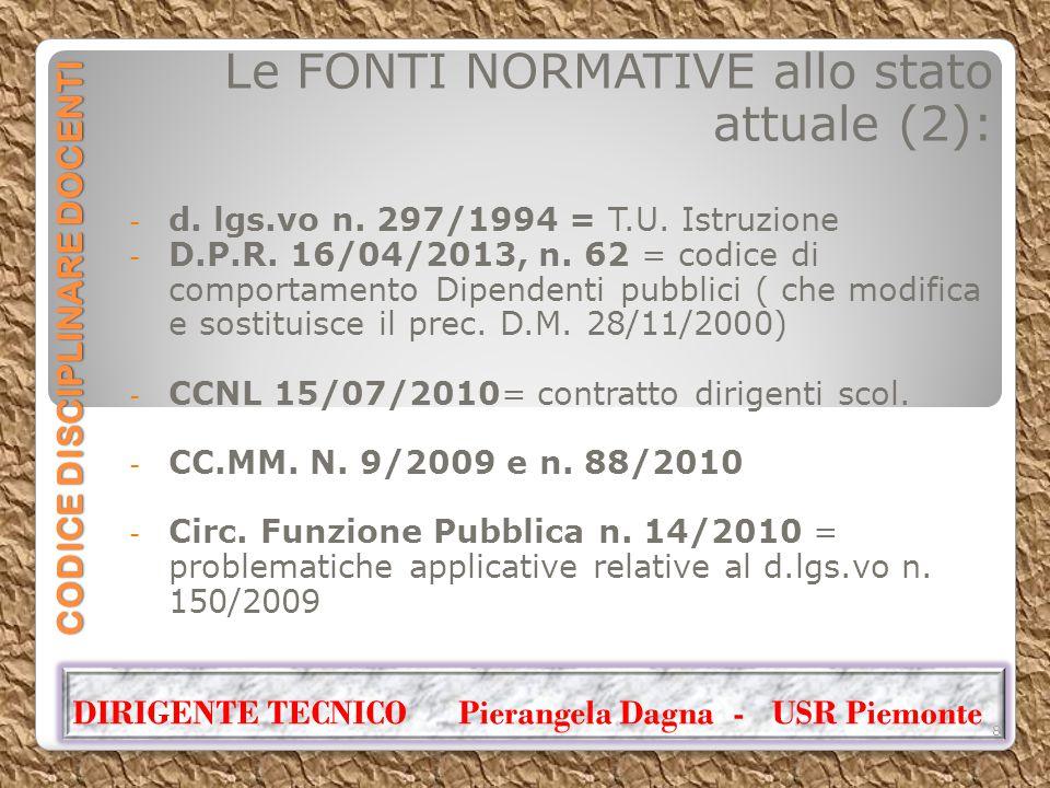 CODICE DISCIPLINARE DOCENTI Le FONTI NORMATIVE allo stato attuale (2): - d. lgs.vo n. 297/1994 = T.U. Istruzione - D.P.R. 16/04/2013, n. 62 = codice d