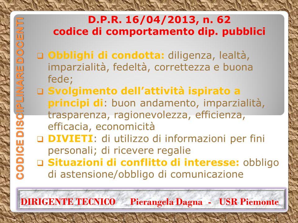 CODICE DISCIPLINARE DOCENTI D.P.R. 16/04/2013, n. 62 codice di comportamento dip. pubblici  Obblighi di condotta: diligenza, lealtà, imparzialità, fe
