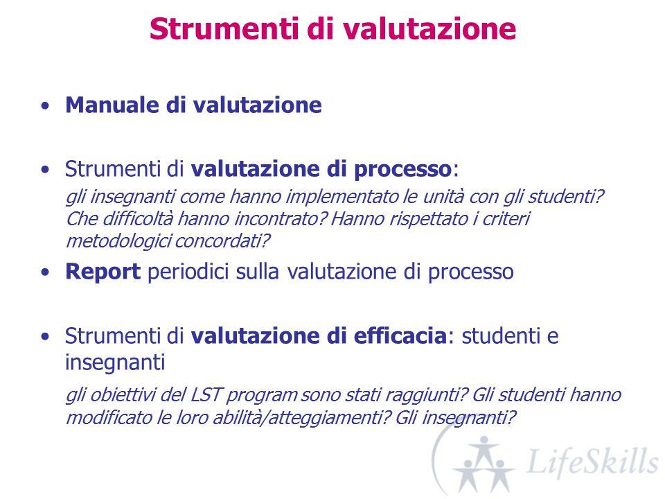 Strumenti di valutazione Manuale di valutazione Strumenti di valutazione di processo: gli insegnanti come hanno implementato le unità con gli studenti.