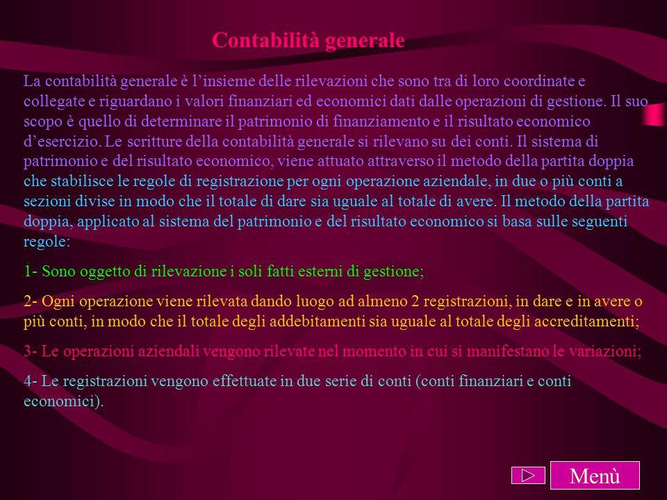 Contabilità generale La contabilità generale è l'insieme delle rilevazioni che sono tra di loro coordinate e collegate e riguardano i valori finanziari ed economici dati dalle operazioni di gestione.