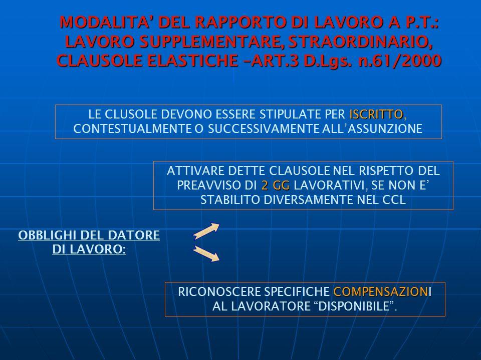 MODALITA' DEL RAPPORTO DI LAVORO A P.T.: LAVORO SUPPLEMENTARE, STRAORDINARIO, CLAUSOLE ELASTICHE –ART.3 D.Lgs. n.61/2000 ISCRITTO LE CLUSOLE DEVONO ES