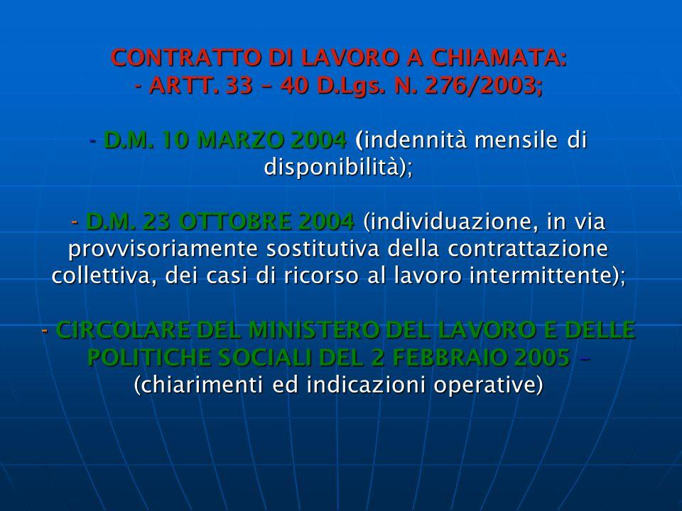 CONTRATTO DI LAVORO A CHIAMATA: - ARTT. 33 – 40 D.Lgs. N. 276/2003; - D.M. 10 MARZO 2004 (indennità mensile di disponibilità); - D.M. 23 OTTOBRE 2004