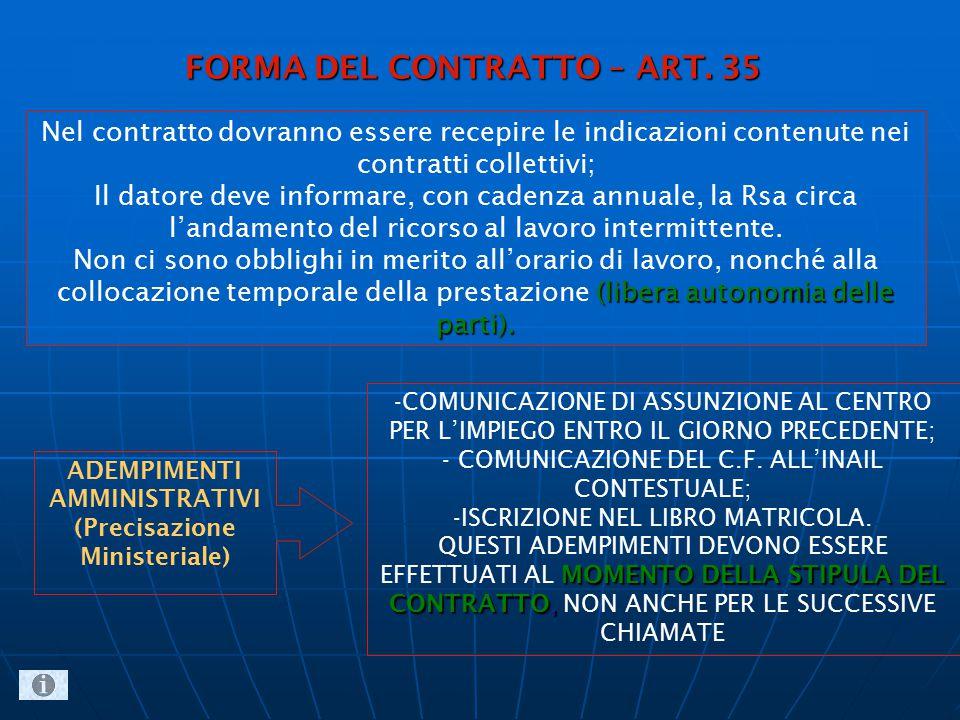 Nel contratto dovranno essere recepire le indicazioni contenute nei contratti collettivi; Il datore deve informare, con cadenza annuale, la Rsa circa