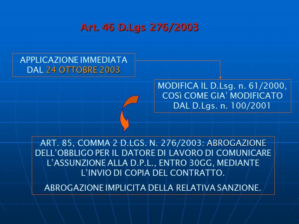 Art. 46 D.Lgs 276/2003 Art. 46 D.Lgs 276/2003 24 OTTOBRE 2003 APPLICAZIONE IMMEDIATA DAL 24 OTTOBRE 2003 MODIFICA IL D.Lsg. n. 61/2000, COSì COME GIA'
