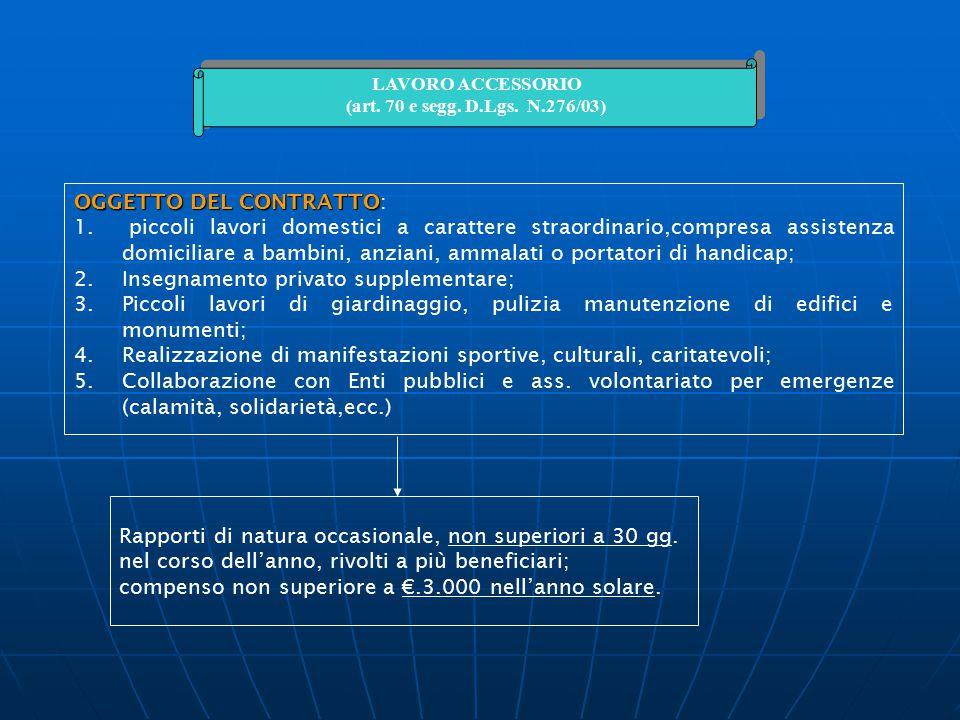 LAVORO ACCESSORIO (art. 70 e segg. D.Lgs. N.276/03) LAVORO ACCESSORIO (art. 70 e segg. D.Lgs. N.276/03) OGGETTO DEL CONTRATTO OGGETTO DEL CONTRATTO: 1