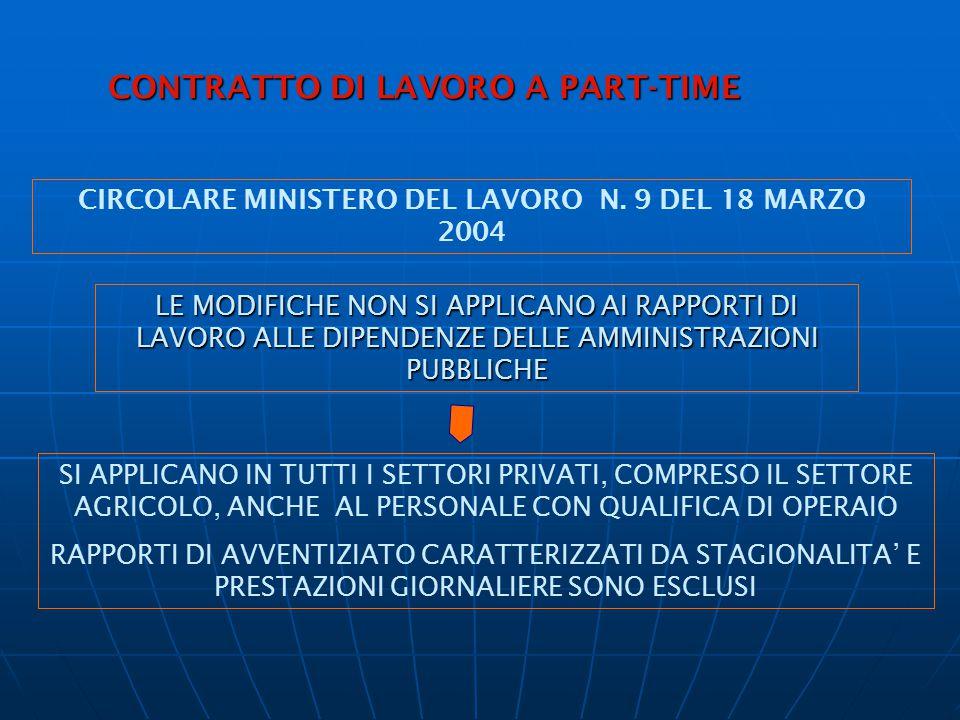 MODALITA' DEL RAPPORTO DI LAVORO A P.T.: LAVORO SUPPLEMENTARE, STRAORDINARIO, CLAUSOLE ELASTICHE –ART.3 D.Lgs.