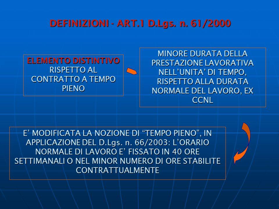 DEFINIZIONI - ART.1 D.Lgs. n. 61/2000 ELEMENTO DISTINTIVO RISPETTO AL CONTRATTO A TEMPO PIENO MINORE DURATA DELLA PRESTAZIONE LAVORATIVA NELL'UNITA' D