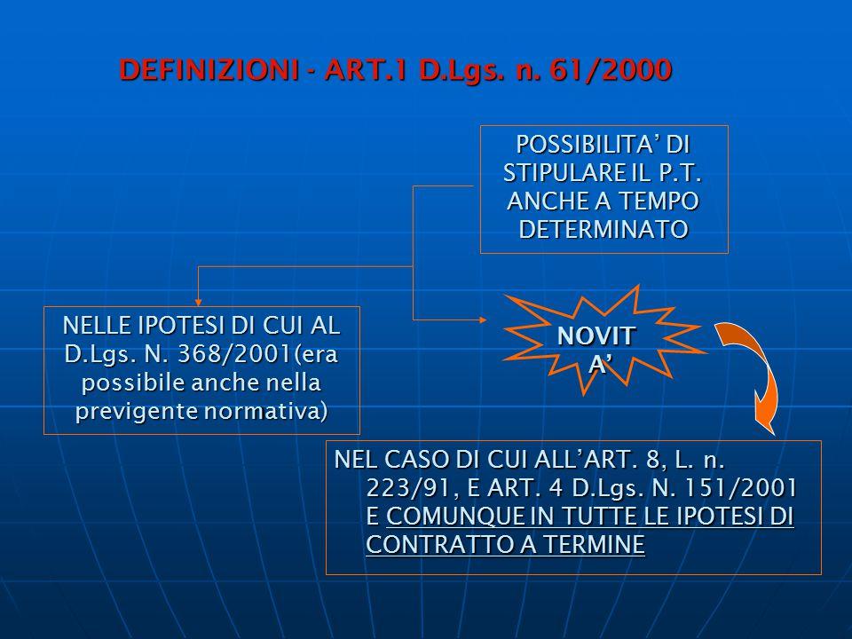 DEFINIZIONI - ART.1 D.Lgs. n. 61/2000 POSSIBILITA' DI STIPULARE IL P.T. ANCHE A TEMPO DETERMINATO NELLE IPOTESI DI CUI AL D.Lgs. N. 368/2001(era possi