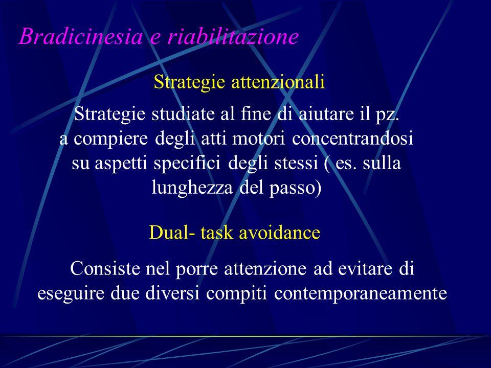 Strategie attenzionali Strategie studiate al fine di aiutare il pz. a compiere degli atti motori concentrandosi su aspetti specifici degli stessi ( es