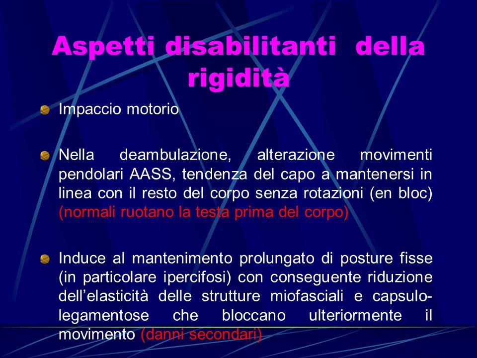 Aspetti disabilitanti della rigidità Impaccio motorio Nella deambulazione, alterazione movimenti pendolari AASS, tendenza del capo a mantenersi in lin