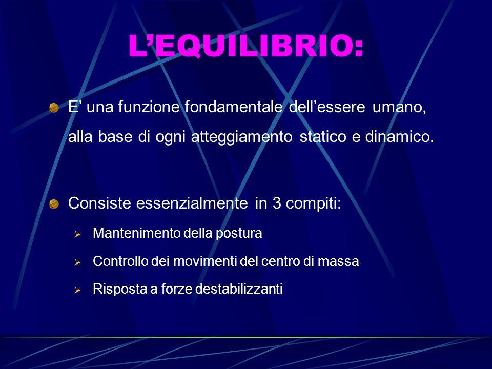 L'EQUILIBRIO: E' una funzione fondamentale dell'essere umano, alla base di ogni atteggiamento statico e dinamico. Consiste essenzialmente in 3 compiti