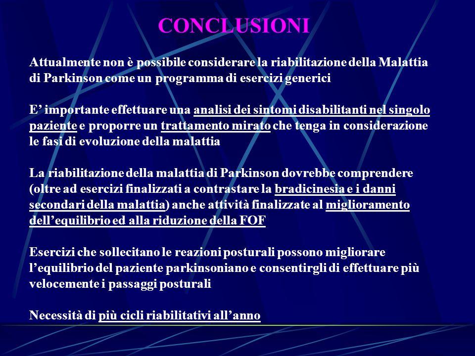 CONCLUSIONI Attualmente non è possibile considerare la riabilitazione della Malattia di Parkinson come un programma di esercizi generici E' importante
