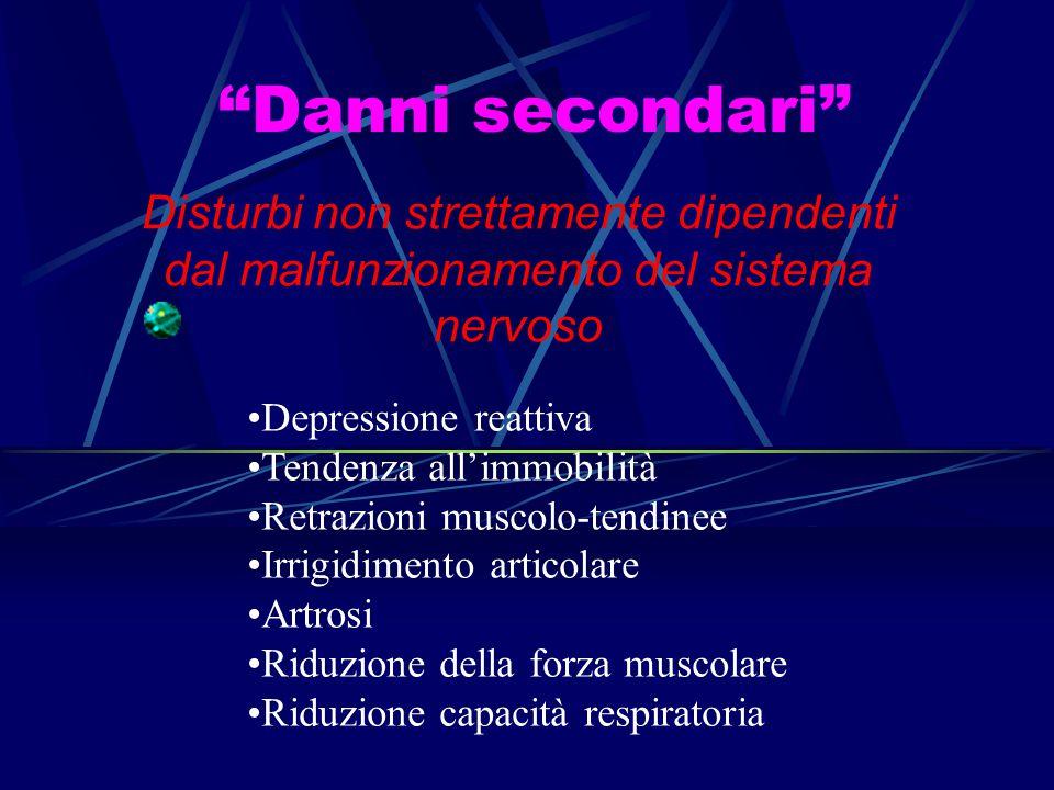 """""""Danni secondari"""" Disturbi non strettamente dipendenti dal malfunzionamento del sistema nervoso Depressione reattiva Tendenza all'immobilità Retrazion"""