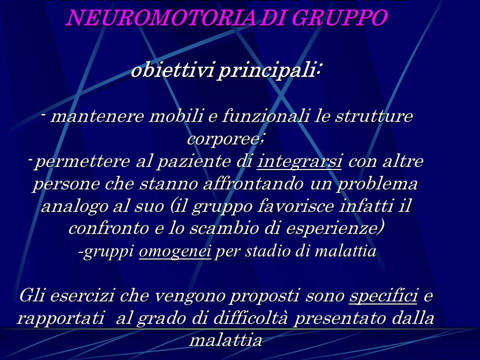 PROGRAMMA DI RIEDUCAZIONE NEUROMOTORIA DI GRUPPO obiettivi principali: - mantenere mobili e funzionali le strutture corporee; -permettere al paziente