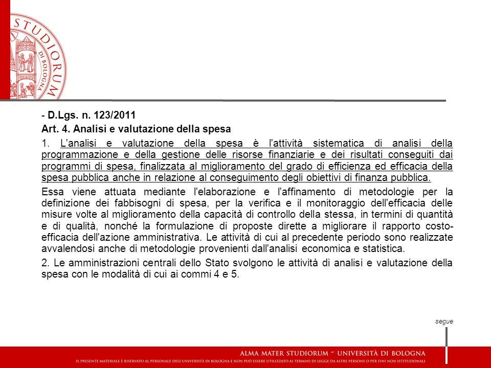 - D.Lgs. n. 123/2011 Art. 4. Analisi e valutazione della spesa 1. L'analisi e valutazione della spesa è l'attività sistematica di analisi della progra