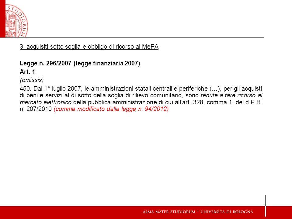 3.acquisiti sotto soglia e obbligo di ricorso al MePA Legge n.
