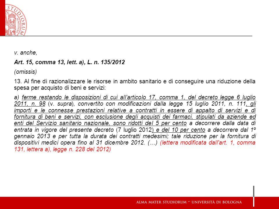 v. anche, Art. 15, comma 13, lett. a), L. n. 135/2012 (omissis) 13. Al fine di razionalizzare le risorse in ambito sanitario e di conseguire una riduz