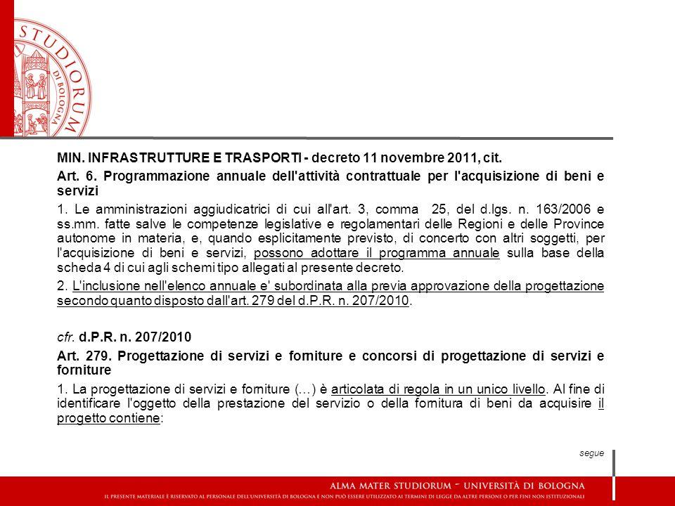 MIN. INFRASTRUTTURE E TRASPORTI - decreto 11 novembre 2011, cit. Art. 6. Programmazione annuale dell'attività contrattuale per l'acquisizione di beni