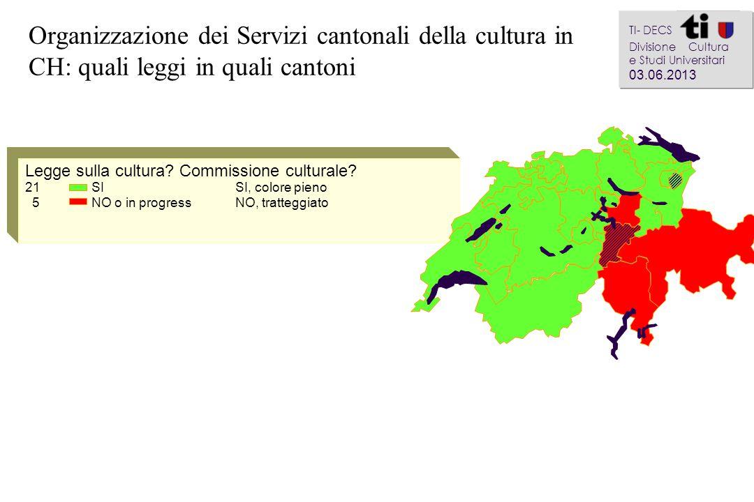 Organizzazione dei Servizi cantonali della cultura in CH: quali leggi in quali cantoni a aa a aa Legge sulla cultura.