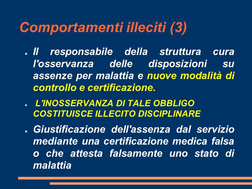 Comportamenti illeciti (3) ● Il responsabile della struttura cura l osservanza delle disposizioni su assenze per malattia e nuove modalità di controllo e certificazione.