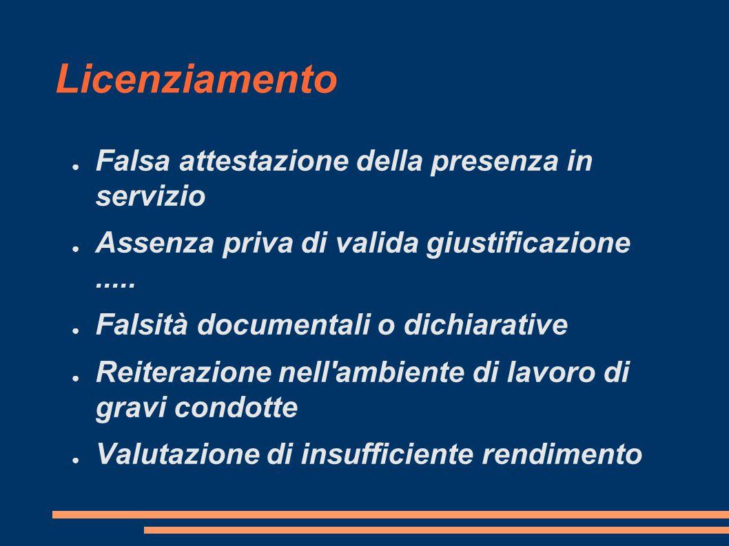 Licenziamento ● Falsa attestazione della presenza in servizio ● Assenza priva di valida giustificazione..... ● Falsità documentali o dichiarative ● Re