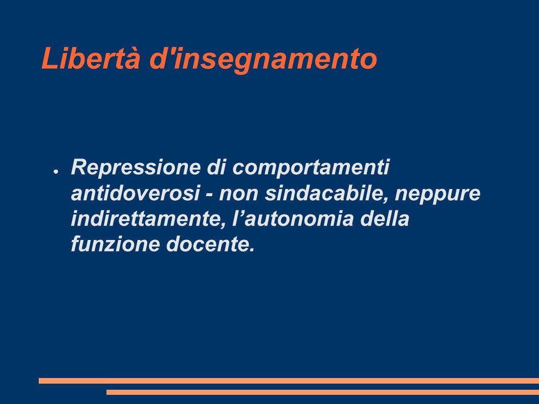Libertà d insegnamento ● Repressione di comportamenti antidoverosi - non sindacabile, neppure indirettamente, l'autonomia della funzione docente.
