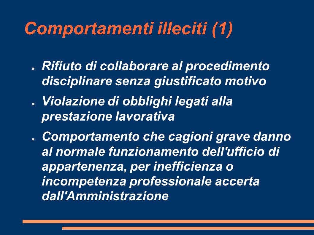 Comportamenti illeciti (1) ● Rifiuto di collaborare al procedimento disciplinare senza giustificato motivo ● Violazione di obblighi legati alla presta