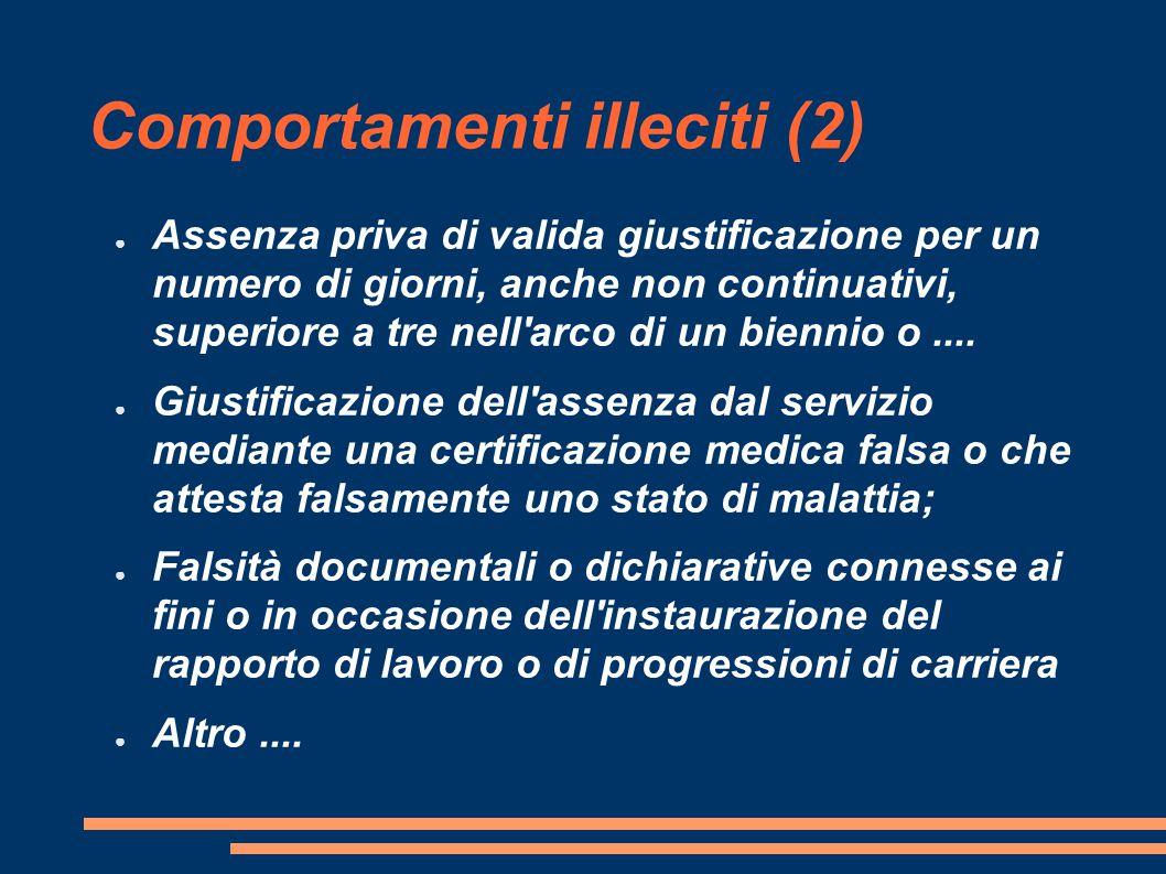 Comportamenti illeciti (2) ● Assenza priva di valida giustificazione per un numero di giorni, anche non continuativi, superiore a tre nell arco di un biennio o....
