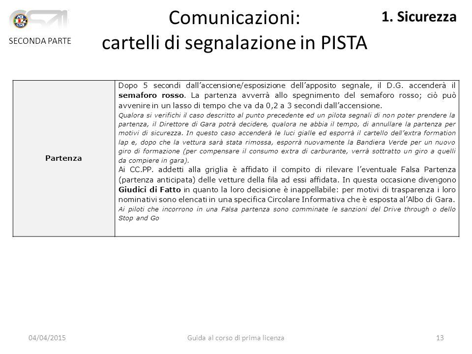 04/04/2015Guida al corso di prima licenza13 Partenza Dopo 5 secondi dall'accensione/esposizione dell'apposito segnale, il D.G.