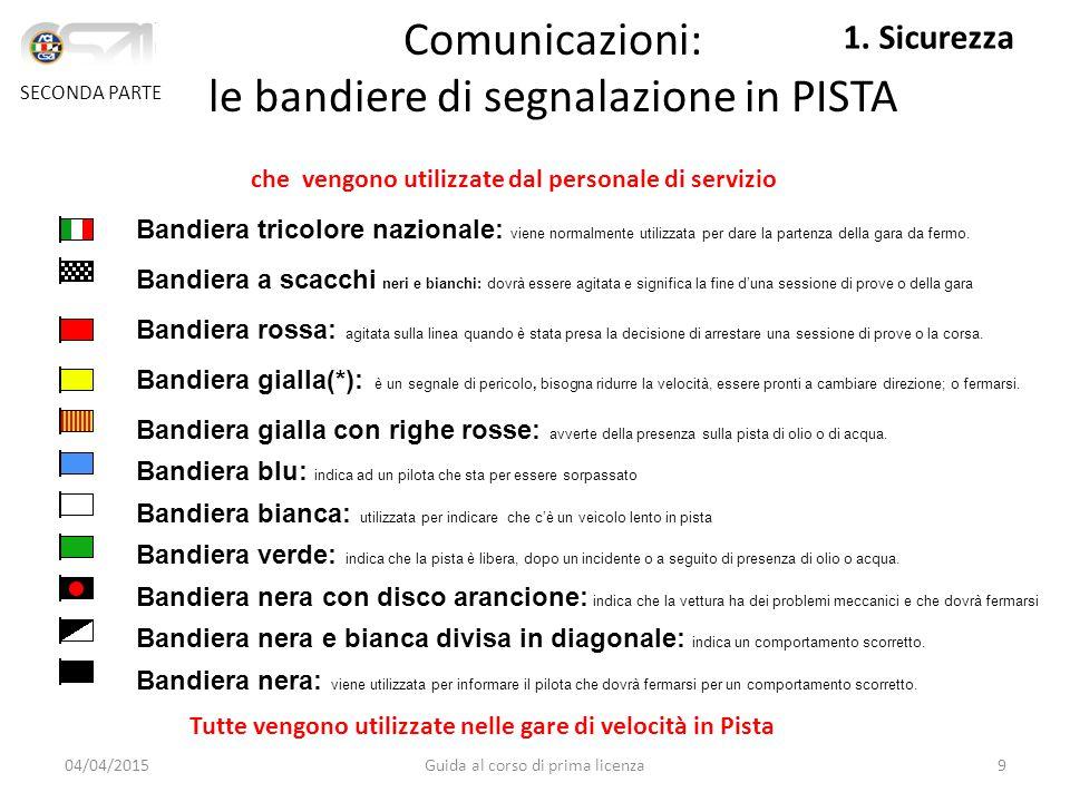 Comunicazioni: le bandiere di segnalazione in PISTA Bandiera tricolore nazionale: viene normalmente utilizzata per dare la partenza della gara da fermo.