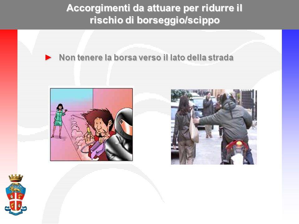 Accorgimenti da attuare per ridurre il rischio di borseggio/scippo ►Non tenere la borsa verso il lato della strada
