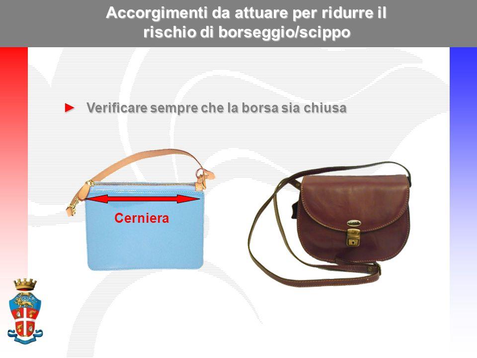 Accorgimenti da attuare per ridurre il rischio di borseggio/scippo ►Verificare sempre che la borsa sia chiusa Cerniera