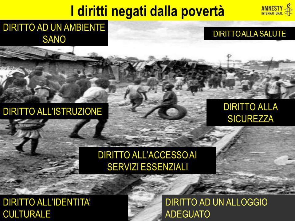 I diritti negati dalla povertà DIRITTO AD UN AMBIENTE SANO DIRITTO ALL'ISTRUZIONE DIRITTO ALLA SALUTE DIRITTO ALLA SICUREZZA DIRITTO ALL'IDENTITA' CUL