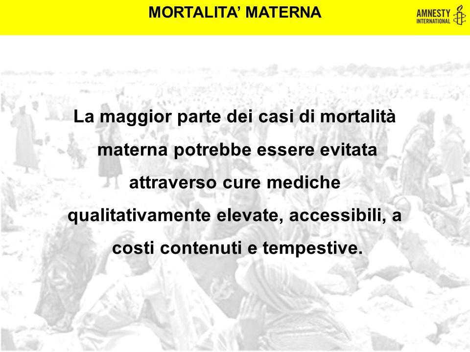 MORTALITA' MATERNA La maggior parte dei casi di mortalità materna potrebbe essere evitata attraverso cure mediche qualitativamente elevate, accessibil