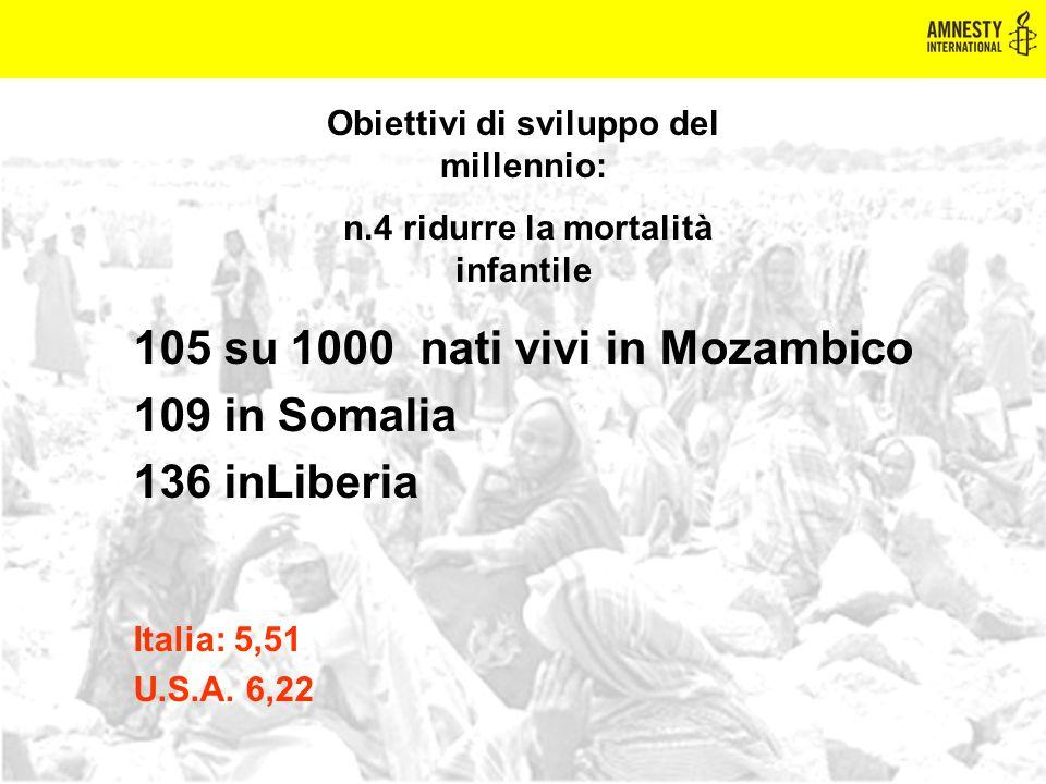 105 su 1000 nati vivi in Mozambico 109 in Somalia 136 inLiberia Italia: 5,51 U.S.A. 6,22 Obiettivi di sviluppo del millennio: n.4 ridurre la mortalità