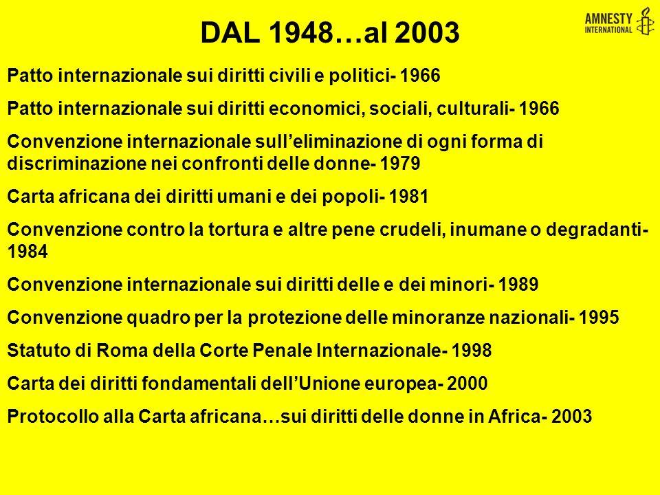 Patto internazionale sui diritti civili e politici- 1966 Patto internazionale sui diritti economici, sociali, culturali- 1966 Convenzione internaziona