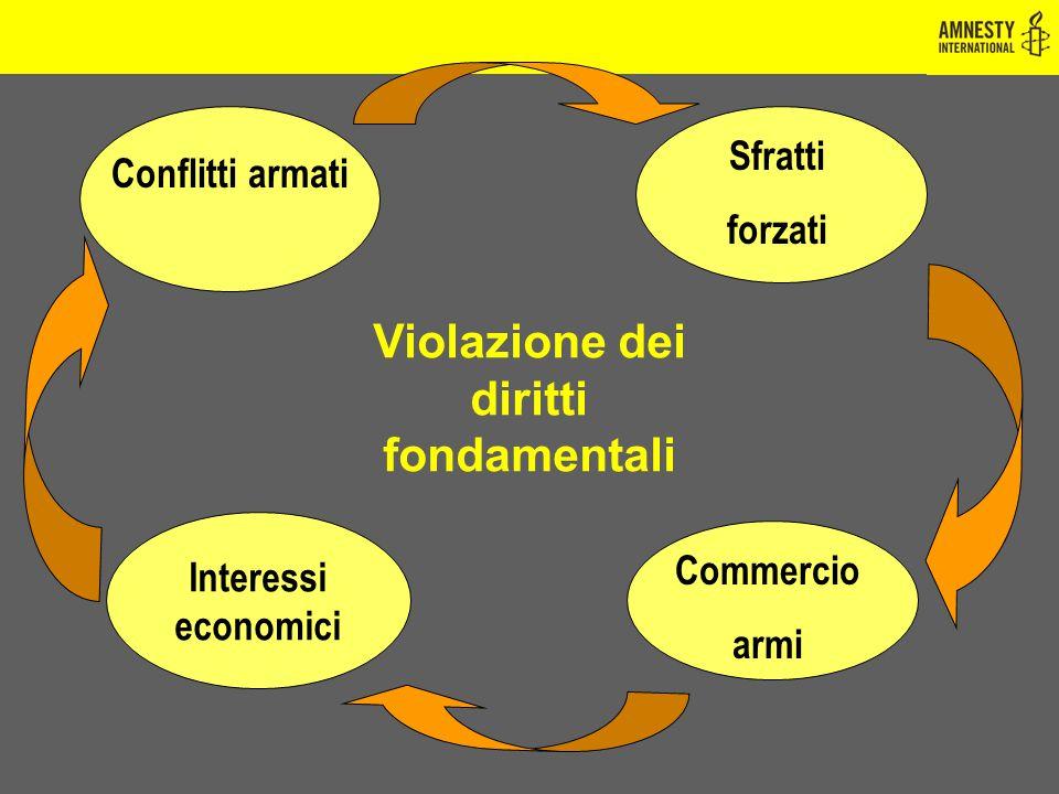 Interessi economici Conflitti armati Sfratti forzati Commercio armi Violazione dei diritti fondamentali