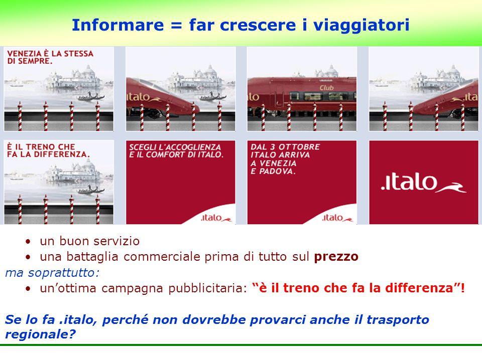 Informare = far crescere i viaggiatori un buon servizio una battaglia commerciale prima di tutto sul prezzo ma soprattutto: un'ottima campagna pubblic
