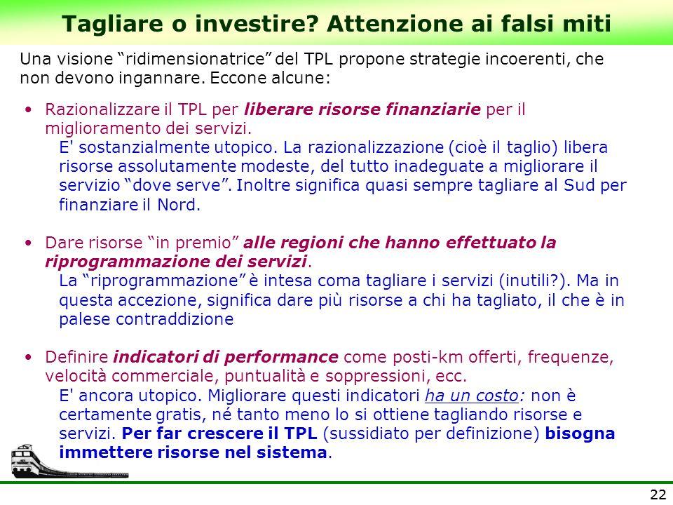 22 Tagliare o investire? Attenzione ai falsi miti Razionalizzare il TPL per liberare risorse finanziarie per il miglioramento dei servizi. E' sostanzi