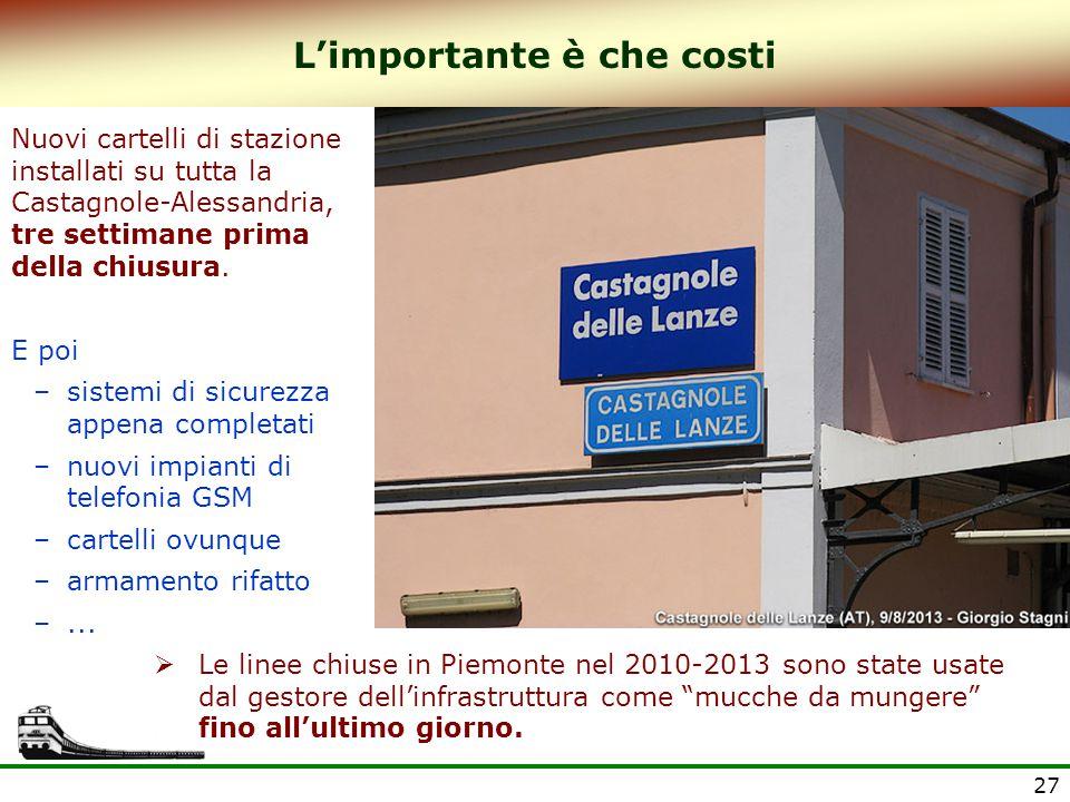 27 L'importante è che costi Nuovi cartelli di stazione installati su tutta la Castagnole-Alessandria, tre settimane prima della chiusura. E poi –siste