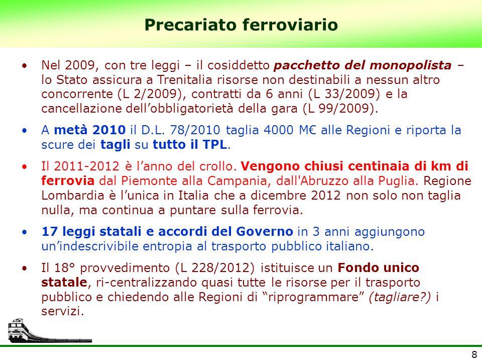 8 Precariato ferroviario Nel 2009, con tre leggi – il cosiddetto pacchetto del monopolista – lo Stato assicura a Trenitalia risorse non destinabili a