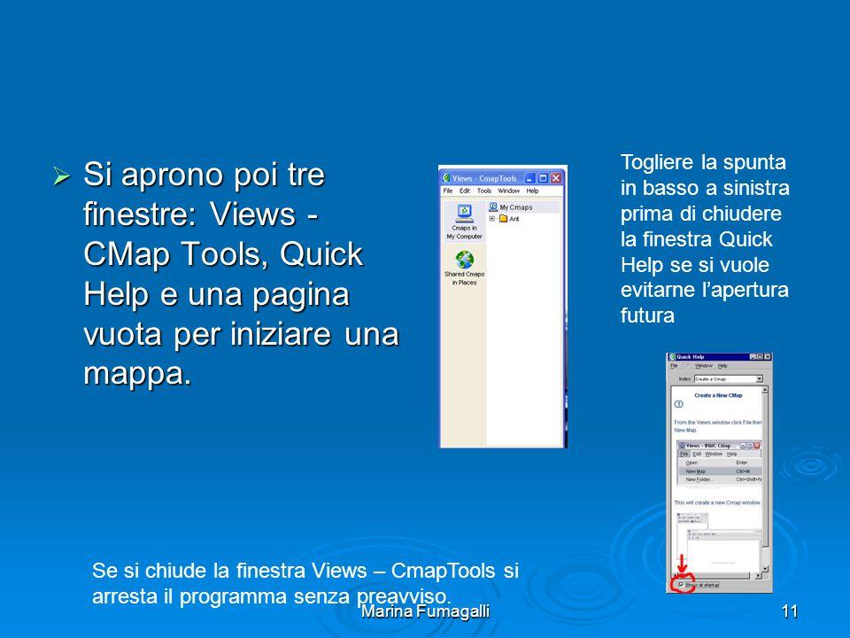 Marina Fumagalli11  Si aprono poi tre finestre: Views - CMap Tools, Quick Help e una pagina vuota per iniziare una mappa.
