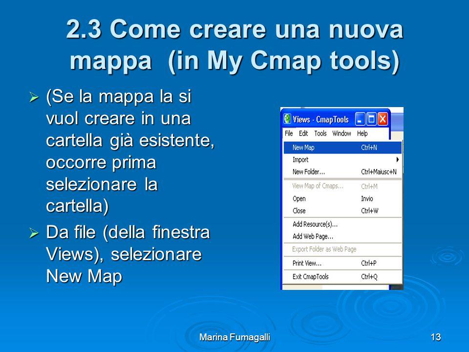 Marina Fumagalli13 2.3 Come creare una nuova mappa (in My Cmap tools)  (Se la mappa la si vuol creare in una cartella già esistente, occorre prima selezionare la cartella)  Da file (della finestra Views), selezionare New Map